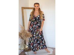 Dlouhé černé šaty s tropickým vzorem (Veľkosť S/M)