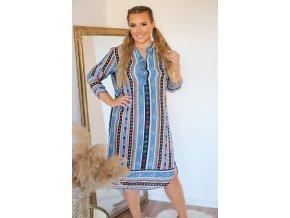 Košilové šaty s aztéckým vzorem - modrá (Veľkosť XXL/XXXL)