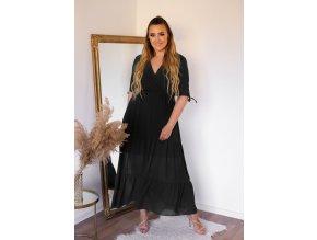 Dlouhé šaty s krátkým rukávem v černé (Veľkosť XL)