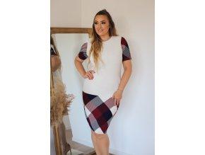 Bílé elegantní šaty s krátkým rukávem (Veľkosť XXXXL)