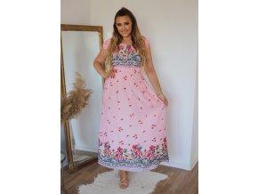 Romantické květinové šaty v růžové (Veľkosť XL)