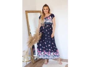 Romantické květinové šaty v tmavě-modré (Veľkosť XL)