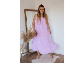 Dlouhé šaty na ramínka s jemně odhaleným chbrtom - fialová (Veľkosť XL/XXL)