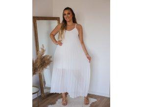 Plisované šaty na ramínka - bílá (Veľkosť L/XL)