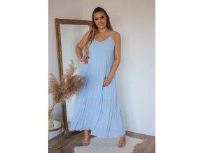Plisované šaty na ramínka - světle-modrá (Veľkosť L/XL)