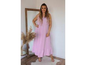 Dlouhé šaty na ramínka s jemně odhaleným chbrtom - fialovo-růžová (Veľkosť XL/XXL)