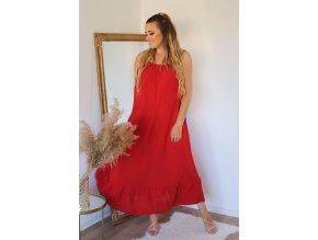 Dlouhé šaty na ramínka s jemně odhaleným chbrtom - červená (Veľkosť XL/XXL)