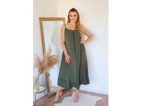 Dlouhé šaty na ramínka s jemně odhaleným chbrtom - khaki (Veľkosť XL/XXL)