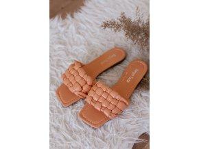 Broskvové pantofle s hranatou špičkou (Veľkosť 40)