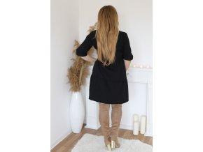 Krátké šaty s prošívanou sukní a opaskem - černá (Veľkosť XXXL)