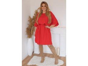 Krátké šaty s gumičkou v pase - červená