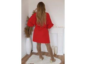 Krátké šaty s gumičkou v pase - červená (Veľkosť XXXL)
