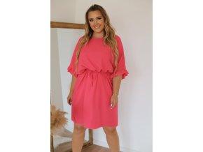 Krátké šaty s gumičkou v pase - lososová (Veľkosť XXXL)