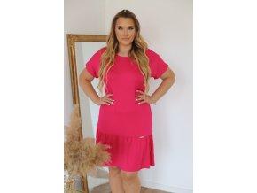 Ležérní tričkové šaty v růžové (Veľkosť XL)