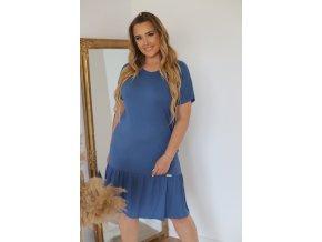 Ležérní tričkové šaty v modro-šedé (Veľkosť XL)