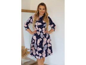 Modro-růžové šaty s abstraktním vzorem (Veľkosť XXXL)