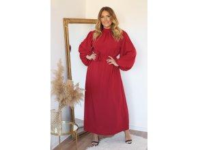 Dlouhé vínové šaty s balónovými rukávy (Veľkosť XL)
