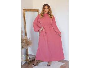 Dlouhé růžové šaty s balónovými rukávy (Veľkosť XL)