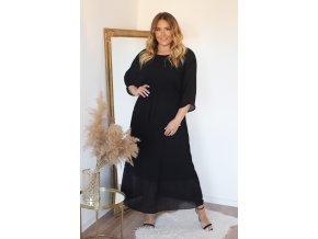 Černé plisované šaty s páskem (Veľkosť L/XL)