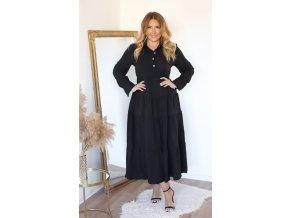 Dlouhé černé košilové šaty s dlouhým rukávem (Veľkosť XL)