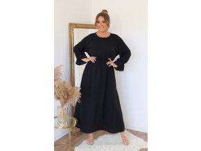 Dlouhé černé šaty s dlouhým rukávem (Veľkosť XL)