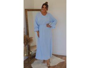 Dlouhé světlo-modré šaty s dlouhým rukávem (Veľkosť XL)