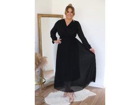 Dlouhé černé plisované šaty (Veľkosť XL)