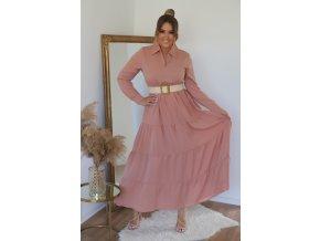 Dlouhé světlo-růžové šaty s páskem (Veľkosť XL)