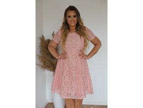 Krátké růžové krajkové šaty (Veľkosť XXXXL)