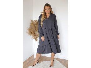 Šedé oversize šaty s dlouhým rukávem (Veľkosť XL/XXL)