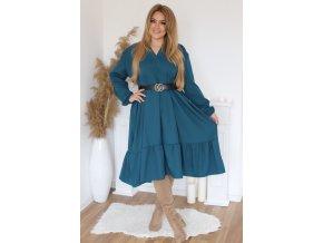 Oversize šaty s dlouhým rukávem v petrolejové