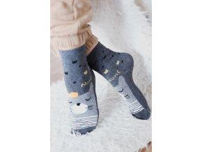 Šedé ponožky s lesním zvířátkem (Veľkosť 38-41)