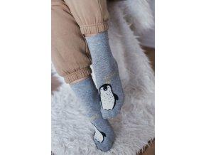Roztomilé šedé ponožky s tučňákem (Veľkosť 38-41)