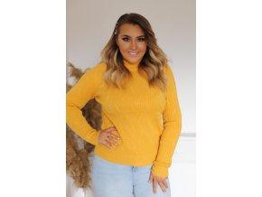 Dámský hořčicově-žlutý svetr (Veľkosť XL/XXL)