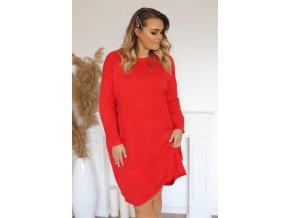 Volné svetrové šaty v červené (Veľkosť XXXL)