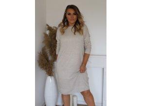Volné svetrové šaty v béžové (Veľkosť XXXL)