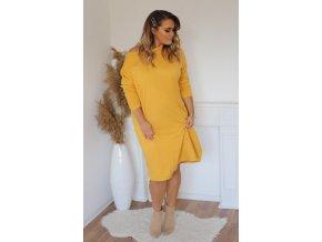 Volné svetrové šaty ve žluté (Veľkosť XXXL)