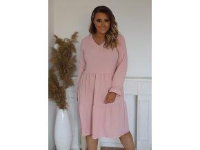 Růžové šaty s dlouhým rukávem a výstřihem do V (Veľkosť XXXL)