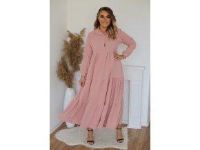 Dlouhé prošívané košilové šaty v růžové barvě (Veľkosť L/XL)