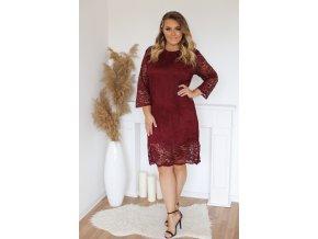 Vínové krajkové šaty (Veľkosť XXXXL)