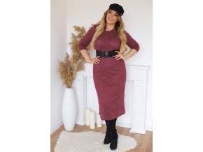 Vínové svetrové šaty s páskem (Veľkosť XXXXL)