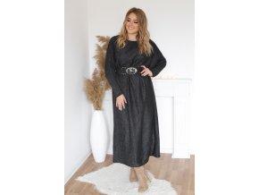 Dlouhé šaty s páskem v černé barvě (Veľkosť XL/XXL)