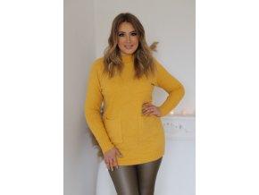 Prodloužený svetr s kapsami v žluté (Veľkosť XL/XXL)