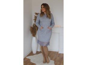 Svetrové šaty s krajkou a kapsami v šedé (Veľkosť XL/XXL)