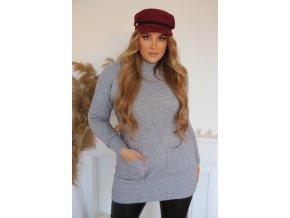 Prodloužený svetr s kapsami v šedé (Veľkosť XL/XXL)