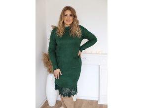Svetrové šaty s krajkou a kapsami v zelené (Veľkosť XL/XXL)