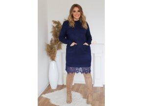 Svetrové šaty s krajkou a kapsami v tmavě modré (Veľkosť XL/XXL)