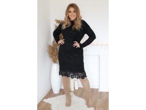 Svetrové šaty s krajkou a kapsami v černé (Veľkosť XL/XXL)