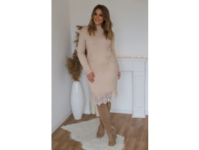 Svetrové šaty s krajkou a kapsami v krémové (Veľkosť XL/XXL)