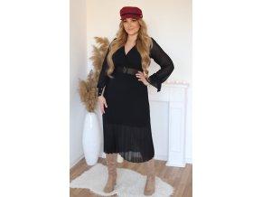 Černé šaty s plisovanou sukní a páskem (Veľkosť M/L)